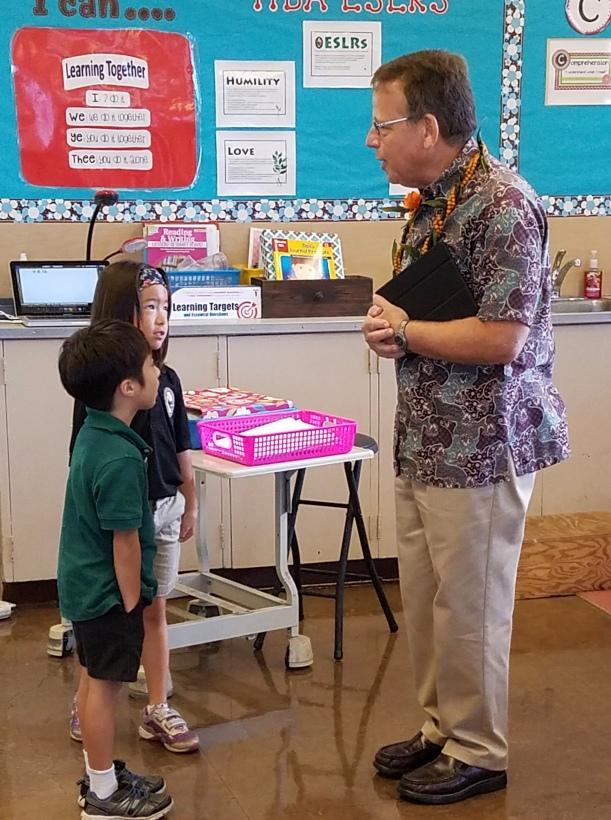 Interviewing Kindergarten students in Hawaii.